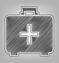 Medical first aid box sign pencil sketch vector