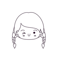 monochrome silhouette of kawaii head little girl vector image vector image