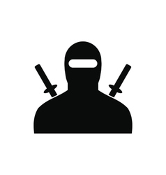 Ninja black simple icon vector
