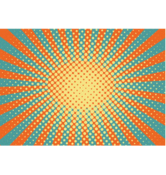 Orange yelow and blue rays and dots pop art vector