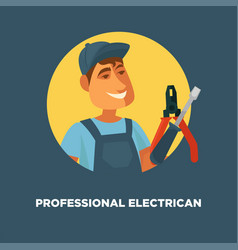 professional electrician service promotional vector image vector image