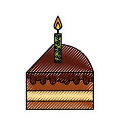 scribble cute cake slice cartoon vector image