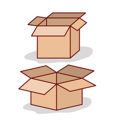set carton box opened on white background vector image vector image