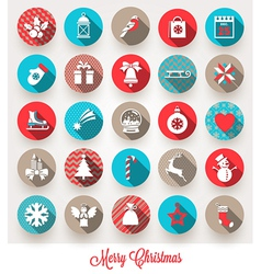 Set of Christmas flat icons with long shadows vector image
