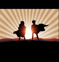 Silhouette man and women superhero with sunlight vector