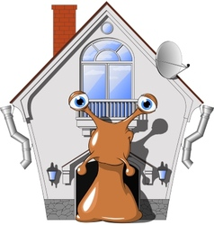 snail in a cozy house vector image