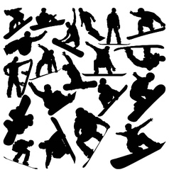 snowboarder silhouettes vector image vector image