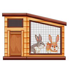 Two cute rabbits in coop vector