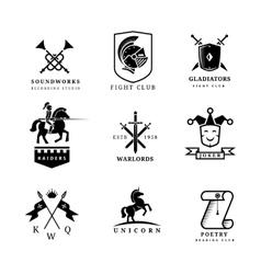 Vintage sword badges and labels or logo set vector