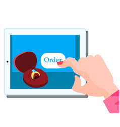 woman mobile online shopping for accessories vector image vector image