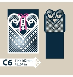 Template envelope with carved openwork heart vector