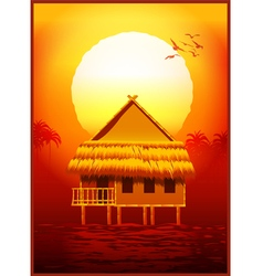 Bungalow at sunset vector