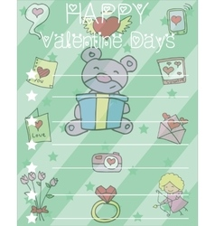 Happy valentine card with bear flower heart vector