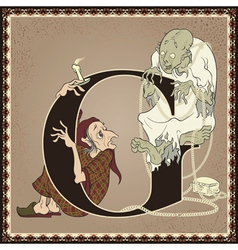 Letter g scrooge and marleys ghost a christmas vector