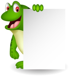 Cute frog cartoon with blank sign vector