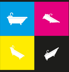bathtub sign   white icon with vector image
