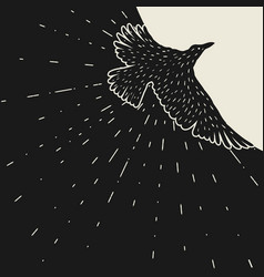 Background with black flying raven hand drawn vector