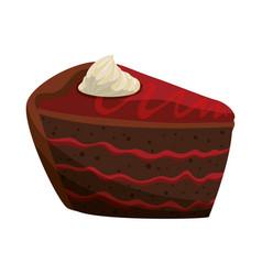 Delicious chocolate cake vector