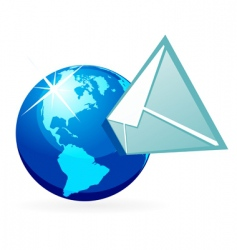 mail in globe vector image