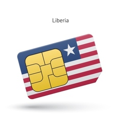 Liberia mobile phone sim card with flag vector