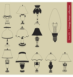 Vintage table lamp set vector