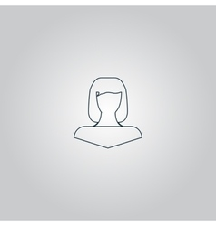 Girl icon head silhouette vector
