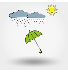 Rainy weather with clouds sun and umbrella vector