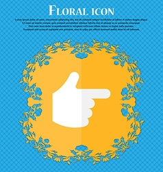 Pointing hand floral flat design on a blue vector