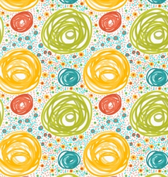 Painted orange and green circles with dots vector