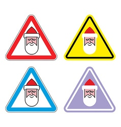 Attention santa claus warning sign santa color vector