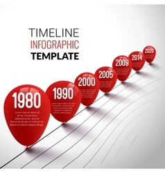 Infographic timeline realistic template with red vector