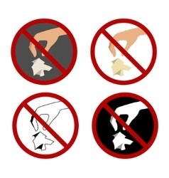 Set with hand throwing rubbish and stop sign vector