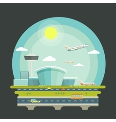 Airport with planes or aircrafts in flat design vector