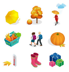 autumn icon and objects set for design vector image vector image