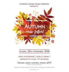 autumn season party festival invite poster banner vector image vector image