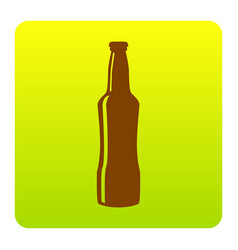 beer bottle sign brown icon at green vector image vector image