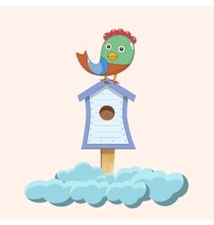 Bird sitting on birdhouse vector image vector image