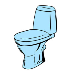 Blue toilet icon cartoon vector