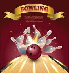 bowling club poster with realistic ball and vector image vector image