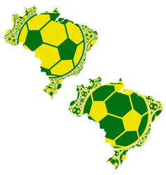 Brazil map soccer balls vector