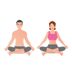 calm woman and man are doing yoga and meditation vector image vector image