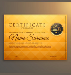 certificate template design with golden pattern vector image