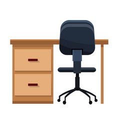 Desk and chair office work vector