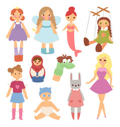 Different dolls fashion young clothes character vector