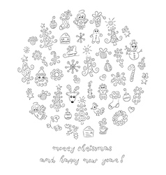 Doodle Christmas elements vector image