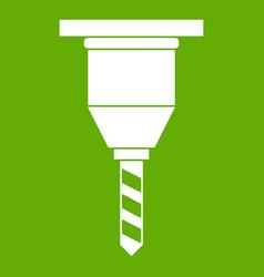 Drill bit icon green vector
