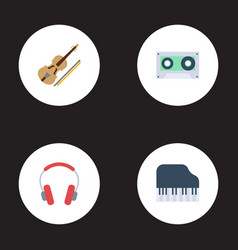 Flat icons earphone octave keyboard fiddle and vector