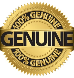 Genuine gold label vector image