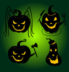 Halloween pumpkins with scary faces jackolanterns vector