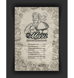 hand drawn menu restaurant sketch and chef vector image vector image